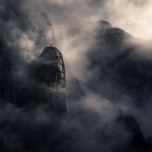 mist, fog, cliffs, peaks, Alaska, Leconte,