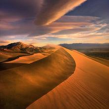 Death Valley, wind, light, sunset, dunes