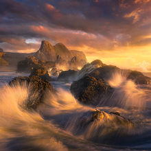 Seal Rocks, oregon, coast, waves, sunset