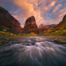 Virgin River, Zion, Angel's Landing, sunrise, beautiful, fall