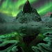 Aurora, Yukon, mountains, october, snow, lake, freezing, aurora