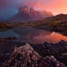 Torres del paine, patagonia, reflection, sunrise