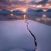 frozen, lake, sunset, jasper, fryatt, alberta, snow