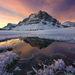 hoar frost, ice, bow lake, canadian rockies, sunrise