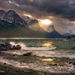 saint mary lake, glacier, stunning, dramtic, beams, light, stormy, waves