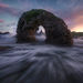 Ireland, Balantoy, arch, sea stack, ocean