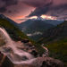 Going to the sun, Glacier, Sunset, Dramatic, Amazing, Twilight, Montana