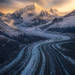 glaciated, glacier, fairweather, Alaska, sunset