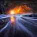 Sunset, Light, Sea, Tunnel, Cavern, Cave, Oregon, Coast, Water, Cape Kiwanda