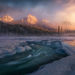 cold, winter, stream, sunrise, peaks, ice, glacial, jasper