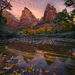 leaves, zion, autumn, utah, water, colors, sunrise