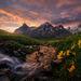 Sunrise, morning, boundary range, meadows, alaska, british columbia, Summer