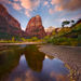 red rock, towers, zion park, utah, reflected, sunset, autumn