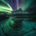 Aurora, Yukon, Ogilvie, mountains, ice, snow, winter, reflection, icy lake, tombstone
