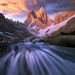 Fitz Roy, stream, rushing, Argentina, north face