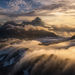 aspiring, clouds, aerial, glacier, New Zealand, sunset