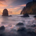 Long exposure, coast, oregon, pacific, sunset, waterfall, cape
