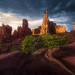 Fisher towers, Utah, juniper, storm