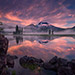 sunrise, striking, sparks lake, oregon, colors, reflect