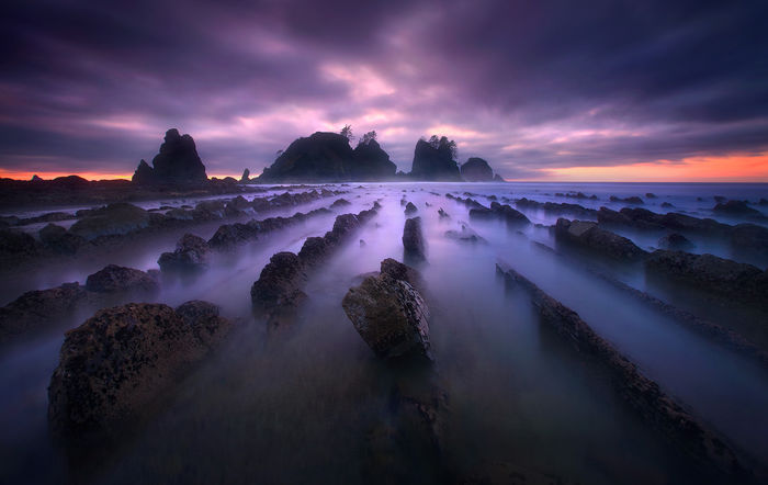 long exposure, twilight, surreal, colors, beauty, olympic, wilderness, coast, washington
