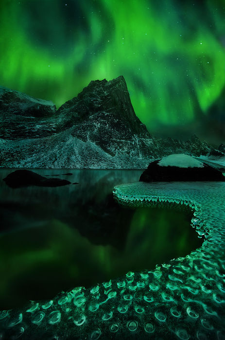 amazing, wilderness, lake, mountains, aurora, yukon, tombstone, photo