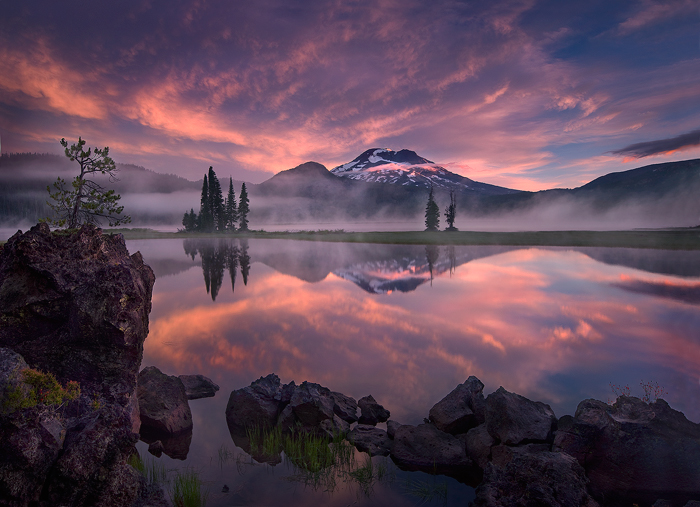 sunrise, striking, sparks lake, oregon, colors, reflect, photo