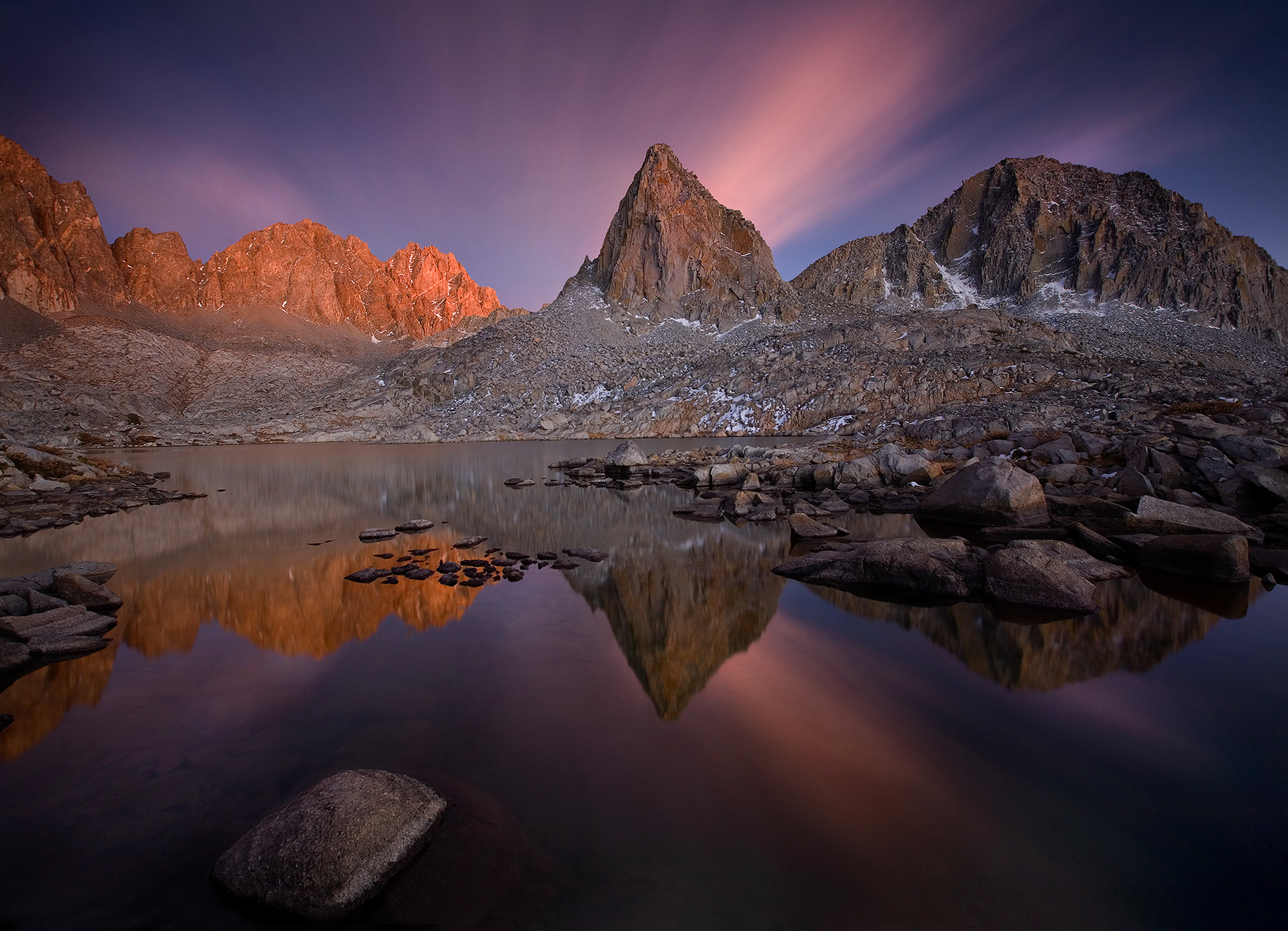 Sierra, backcountry, long exposure, twilight, colors, clouds, photo