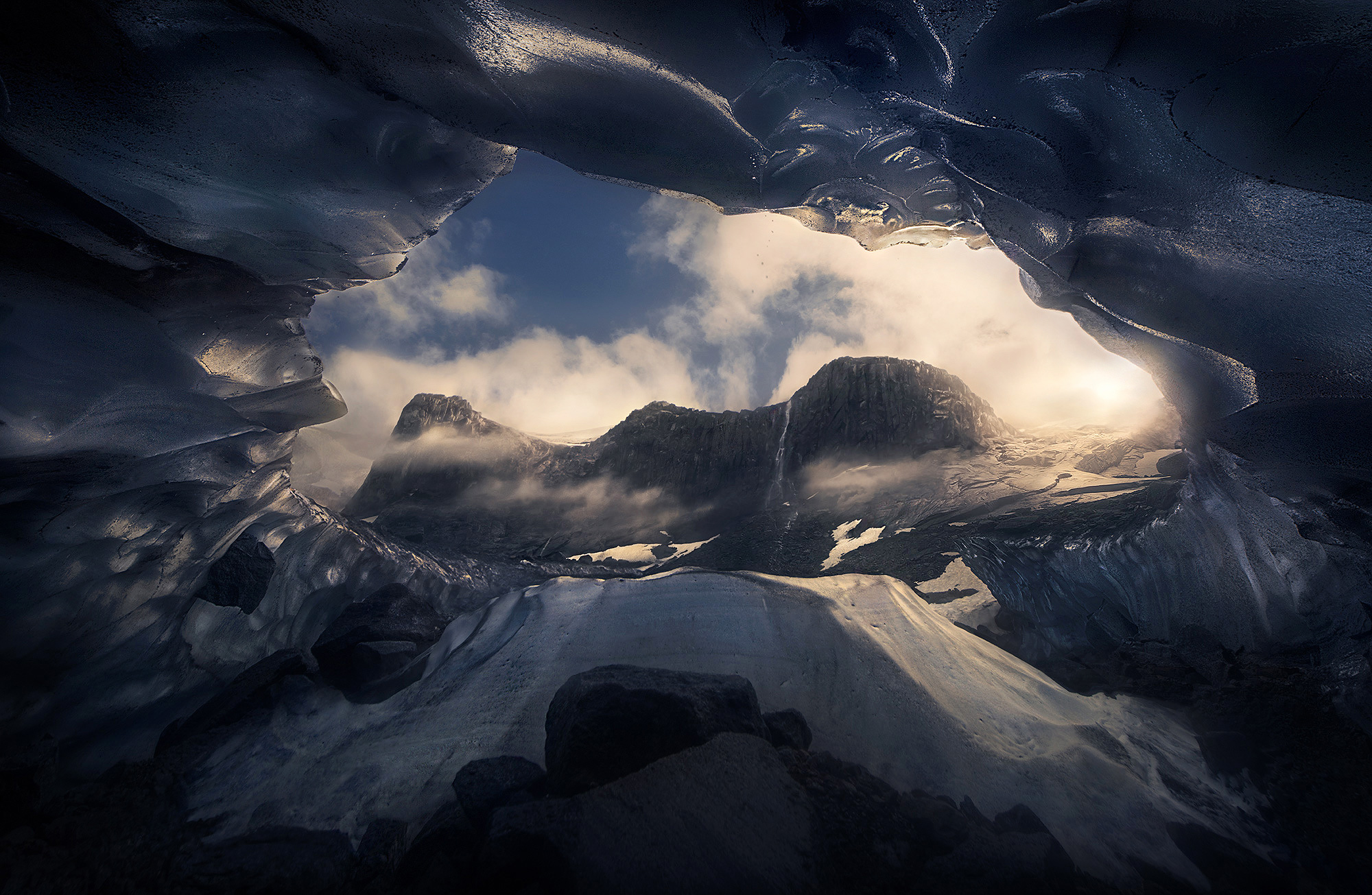 ice cave, mountains, waterfall, Alaska, ice, glacier, cave, cascade, photo