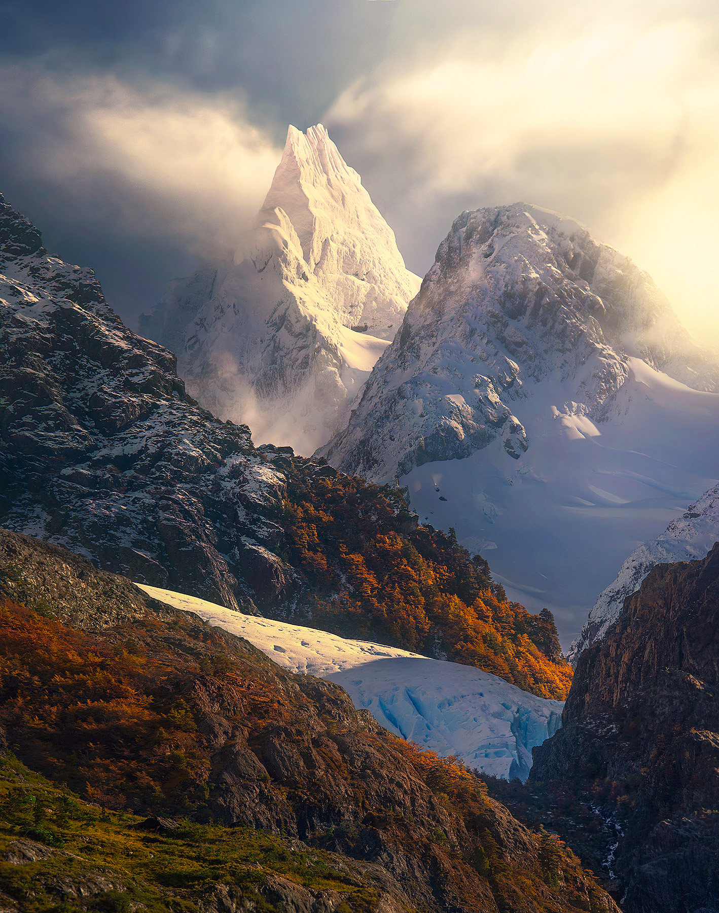 Patagonian fiords, mountains, angel wings, photo