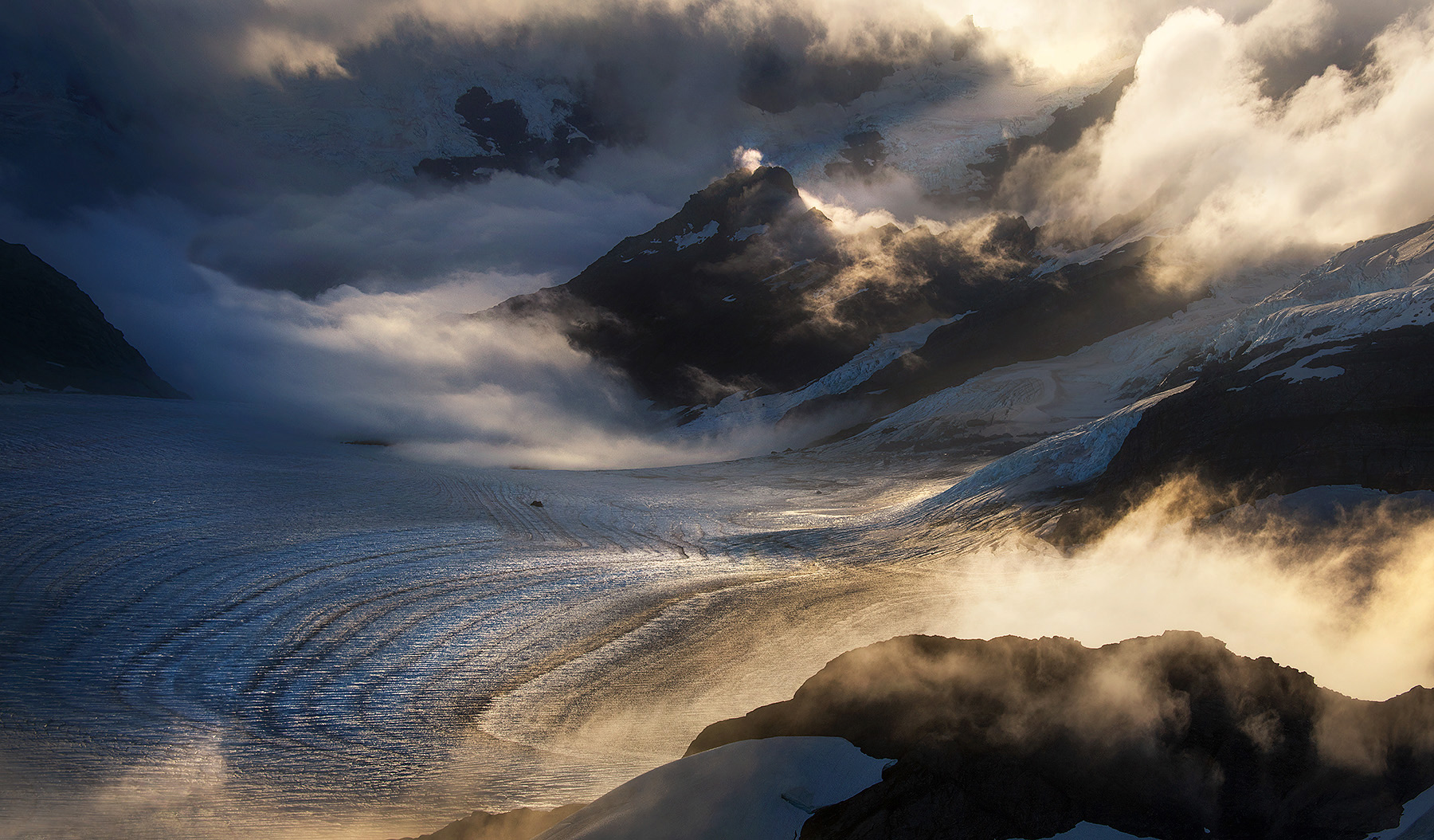 Layers of glacial terrain from the heights of Aspiring National Park, New Zealand
