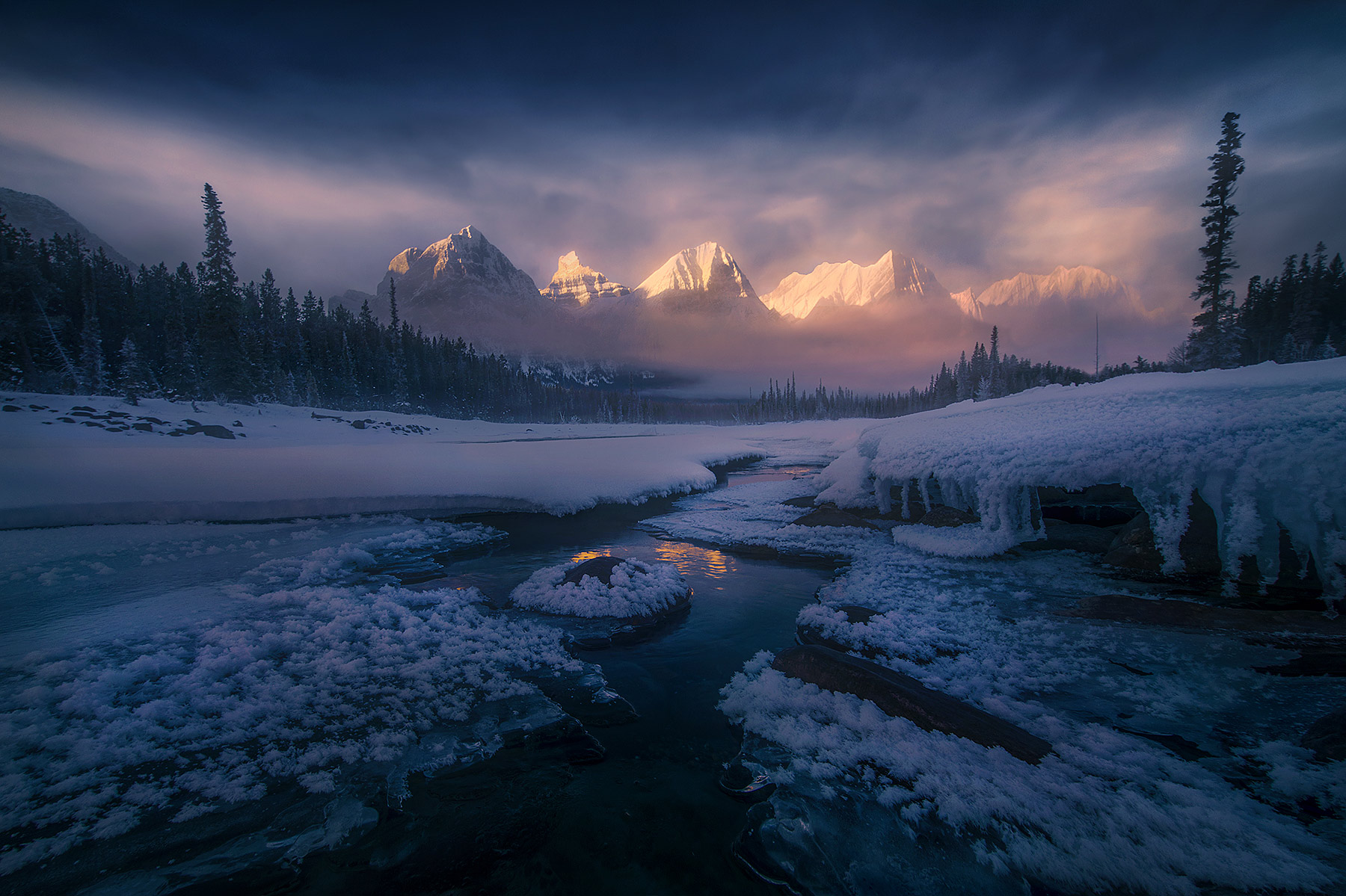 cold, jasper, athabasca, frost, ice, reflection, mountains, misty, photo