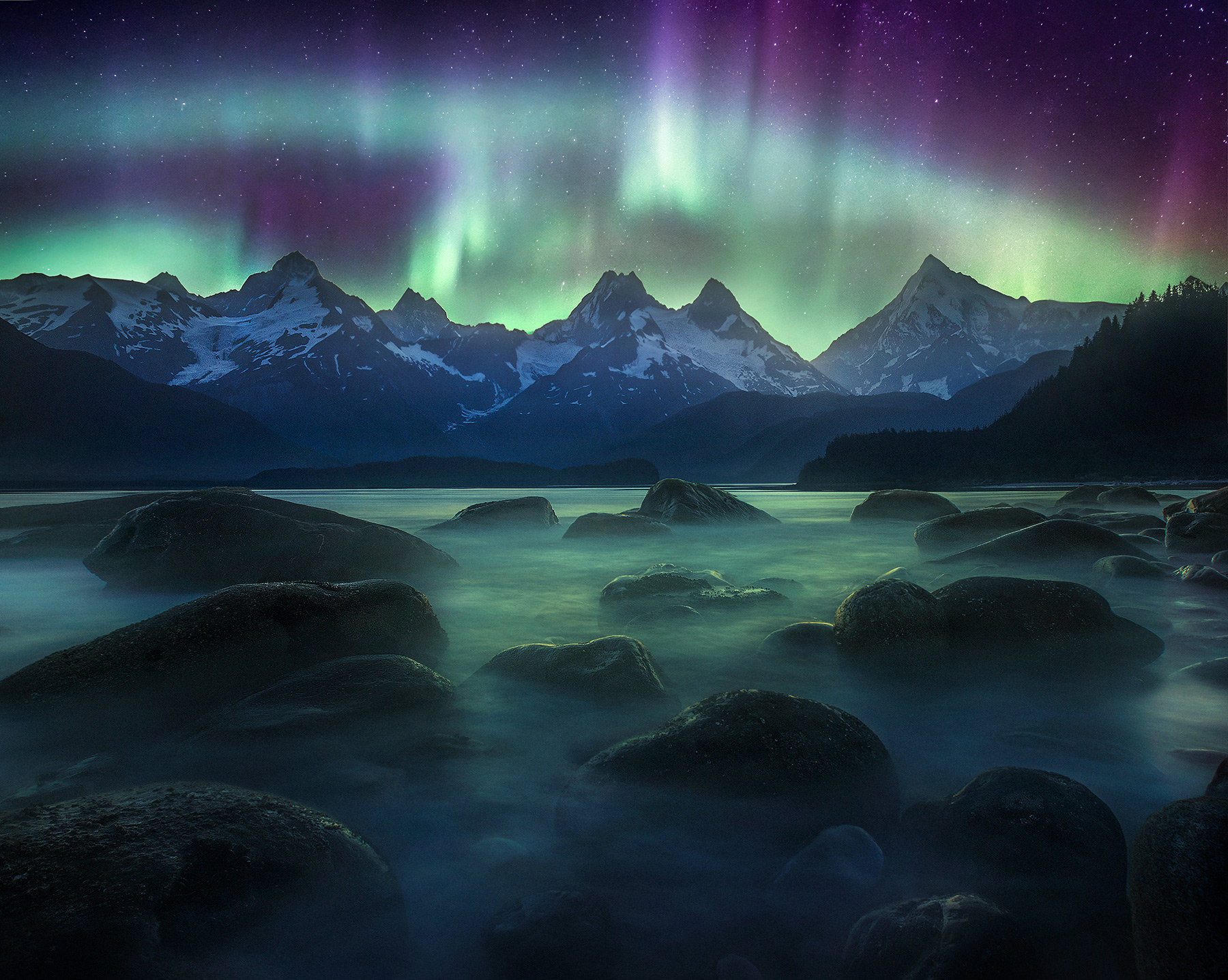 Aurora, fairweather, mountains, glaciers, curtains, bay, lituya, photo