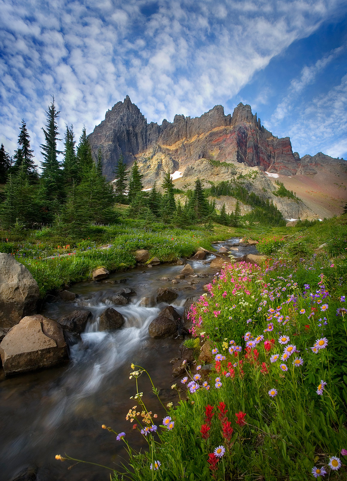 Three Fingered Jack, peak, clouds, stream, wildflowers, mountain, photo