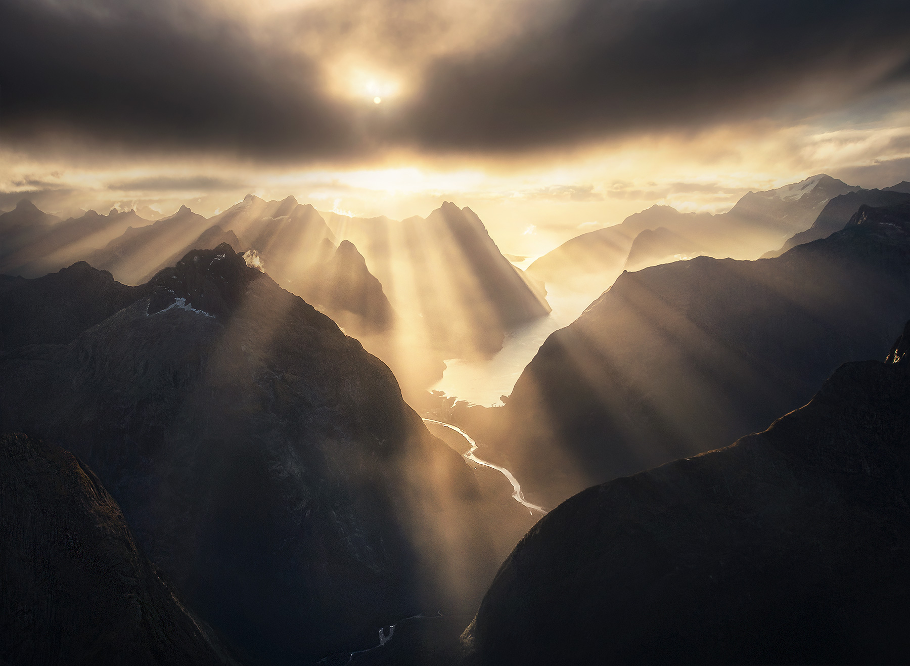 aerial, Milford sound, New Zealand, beams, sunlight, photo