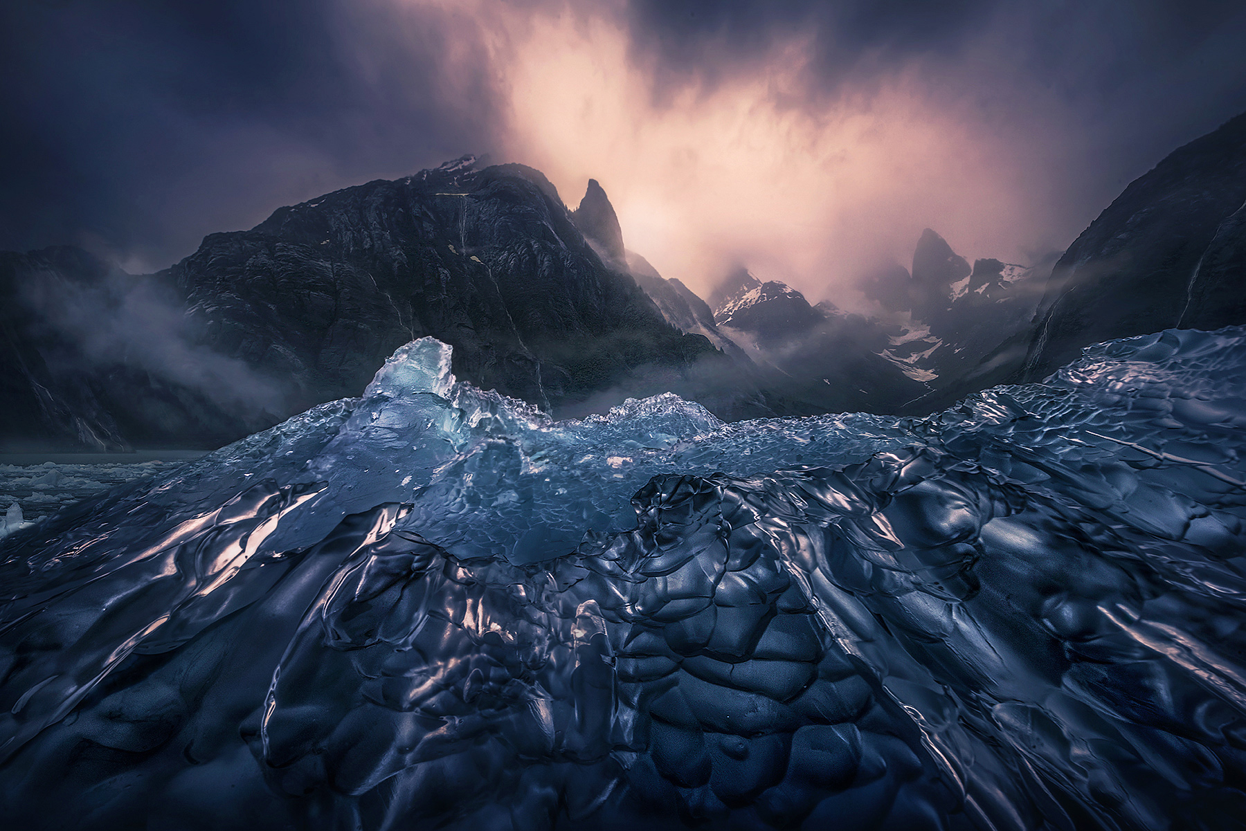 Alaska, ice, waterfalls, glacier, falls, peaks, mountains, kayak, photo