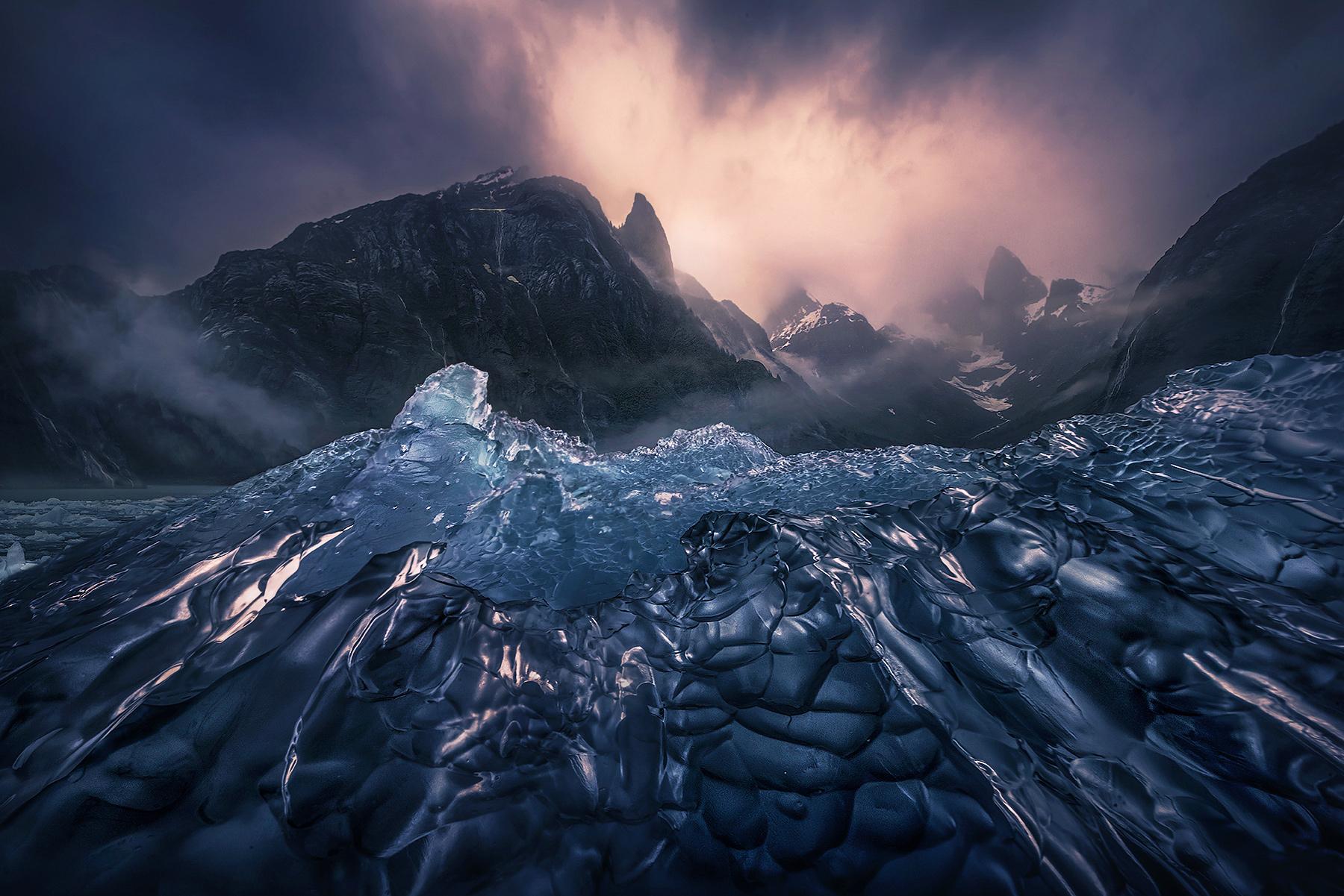 Alaska, ice, waterfalls, glacier, falls, peaks, mountains, kayak, photo
