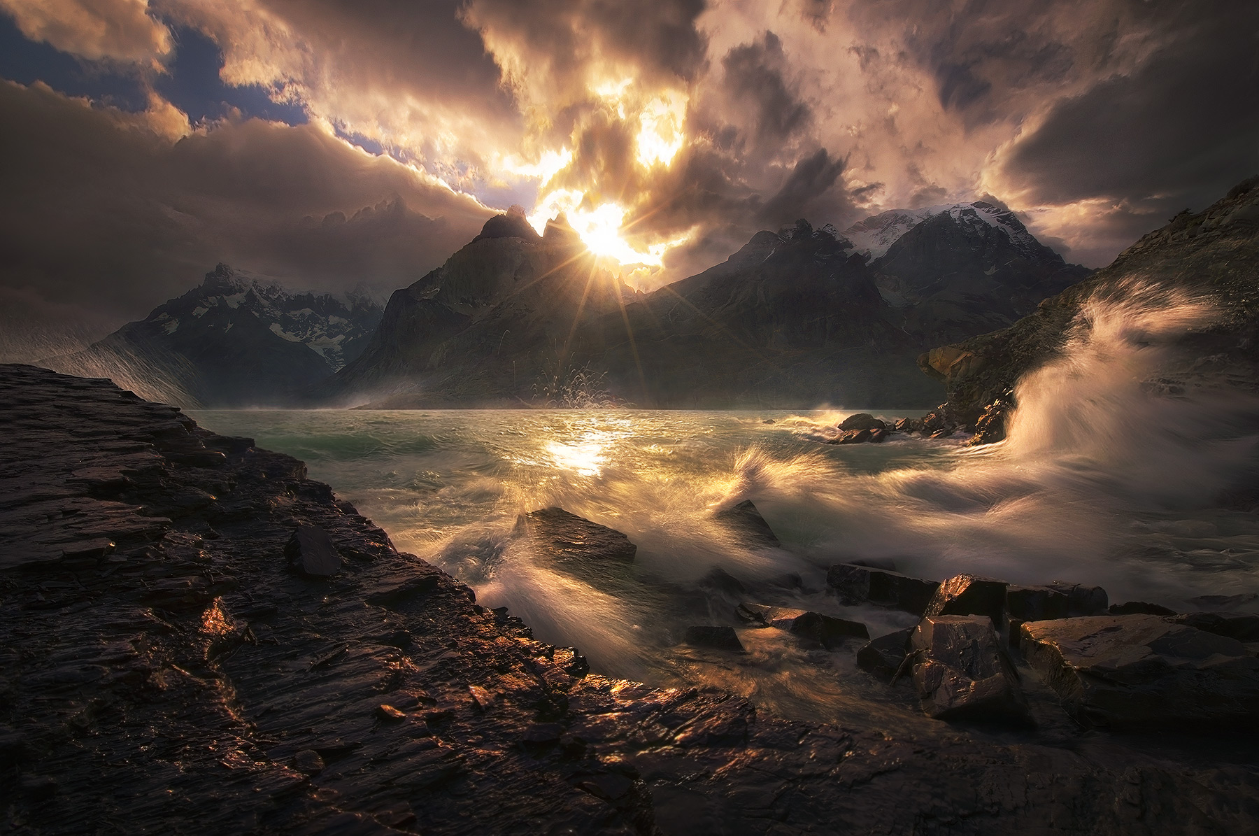 crashing, waves, patagonia, torres del paine, chile, wind, dramatic, sunset, photo