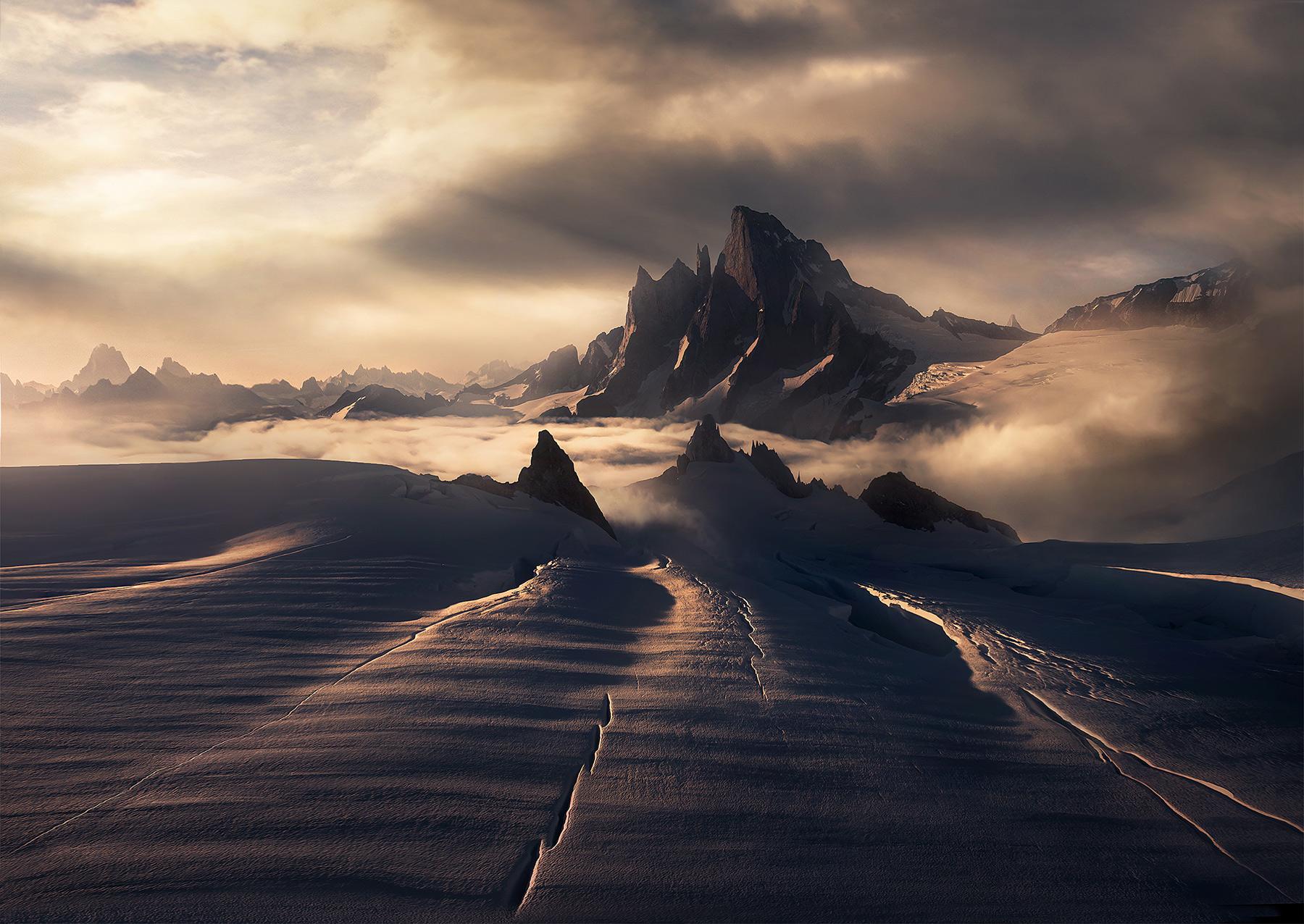 Devils thumb, Alaska, petersburg, glacier, crevasses, mountains, peak,  sunset, photo