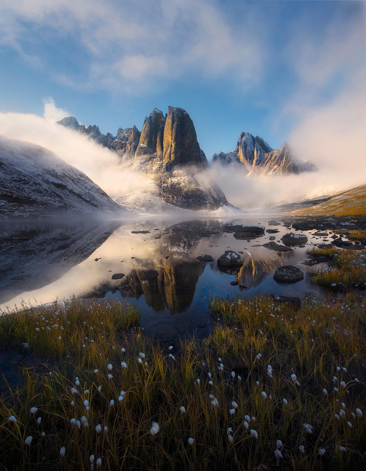 clearing, mist, fog, peaks, lake, reflection, yukon, ogilvie, photo