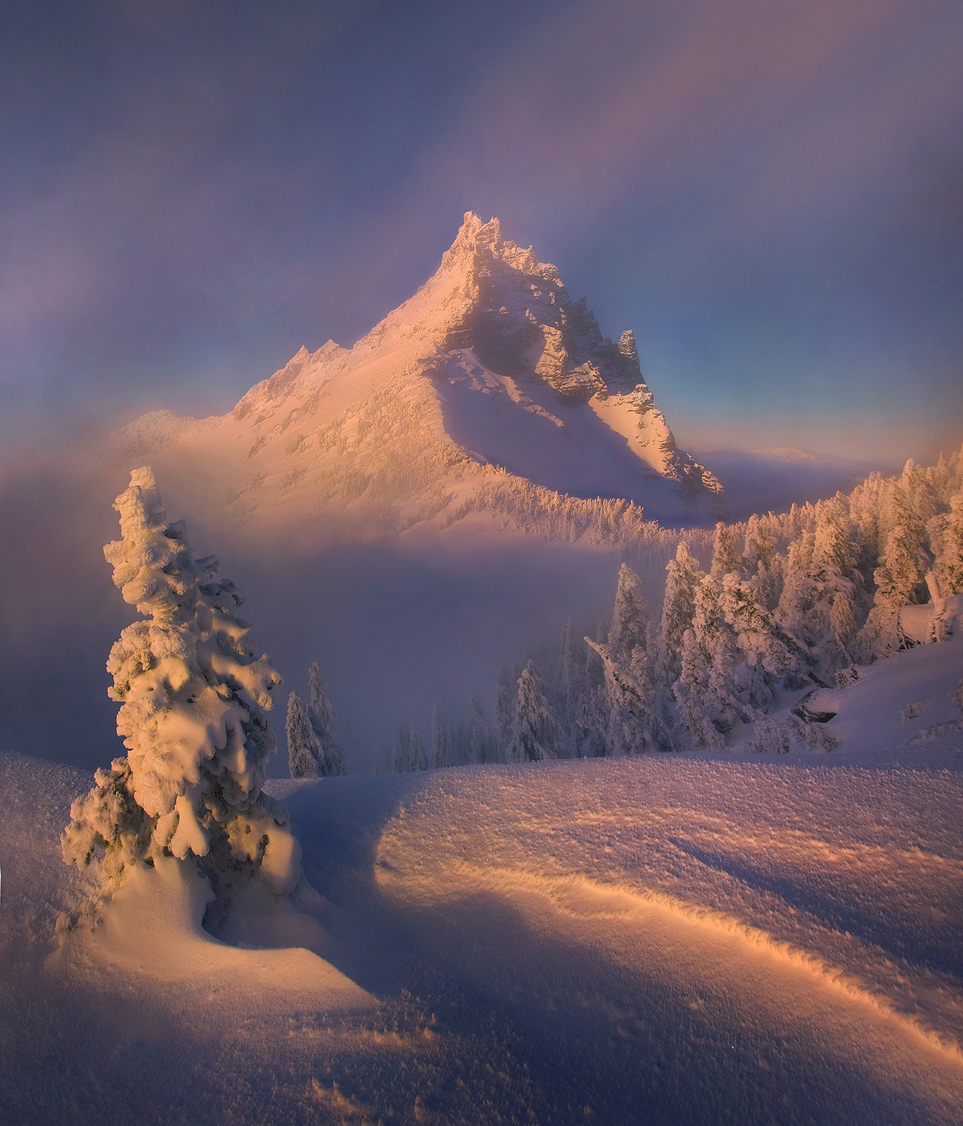 three fingered jack, oregon, peak, backpacking, clearing, snow, ice, winter, mountain, photo