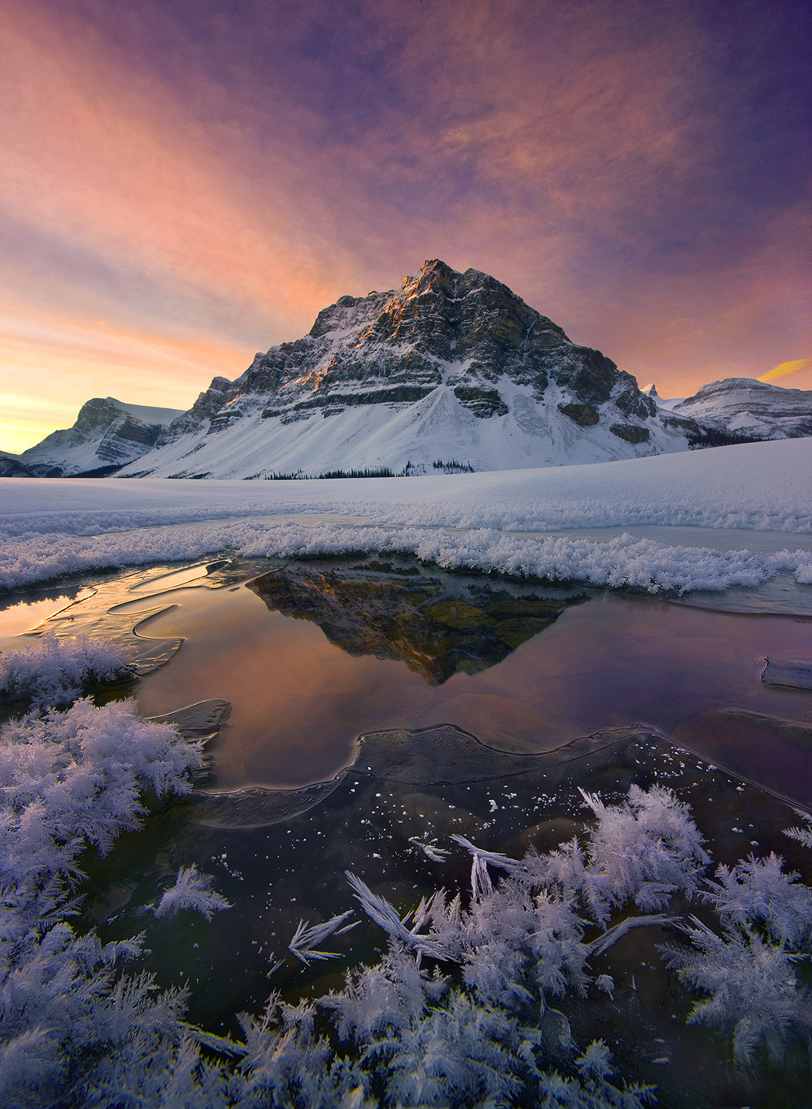 hoar frost, ice, bow lake, canadian rockies, sunrise, photo
