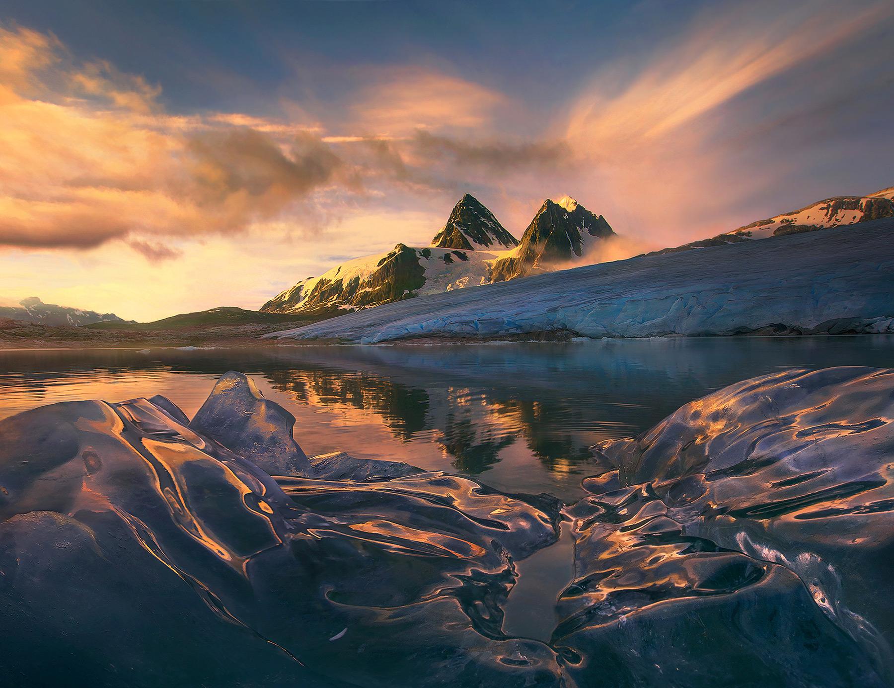 iceberg, reflection, coast mountains, bc, alaska, photo