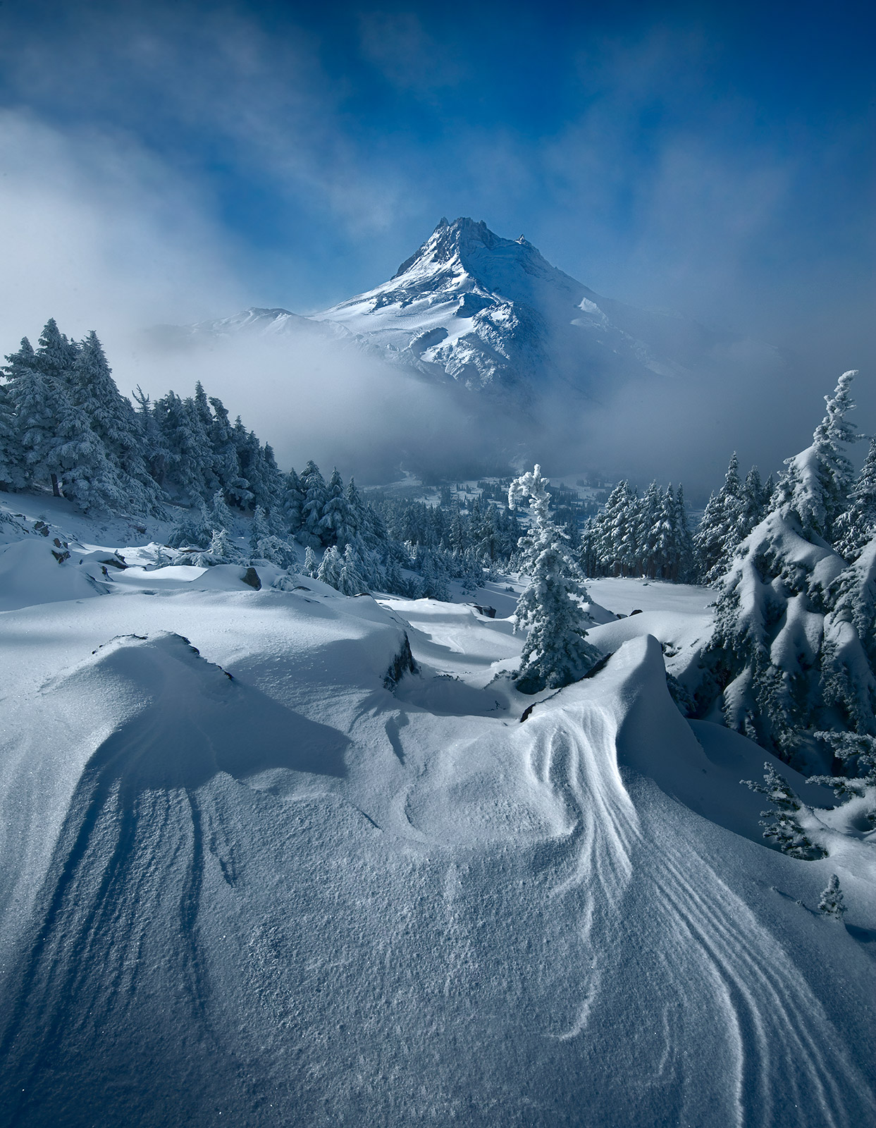 mount jefferson, clouds, morning, snowfall, alpine, photo