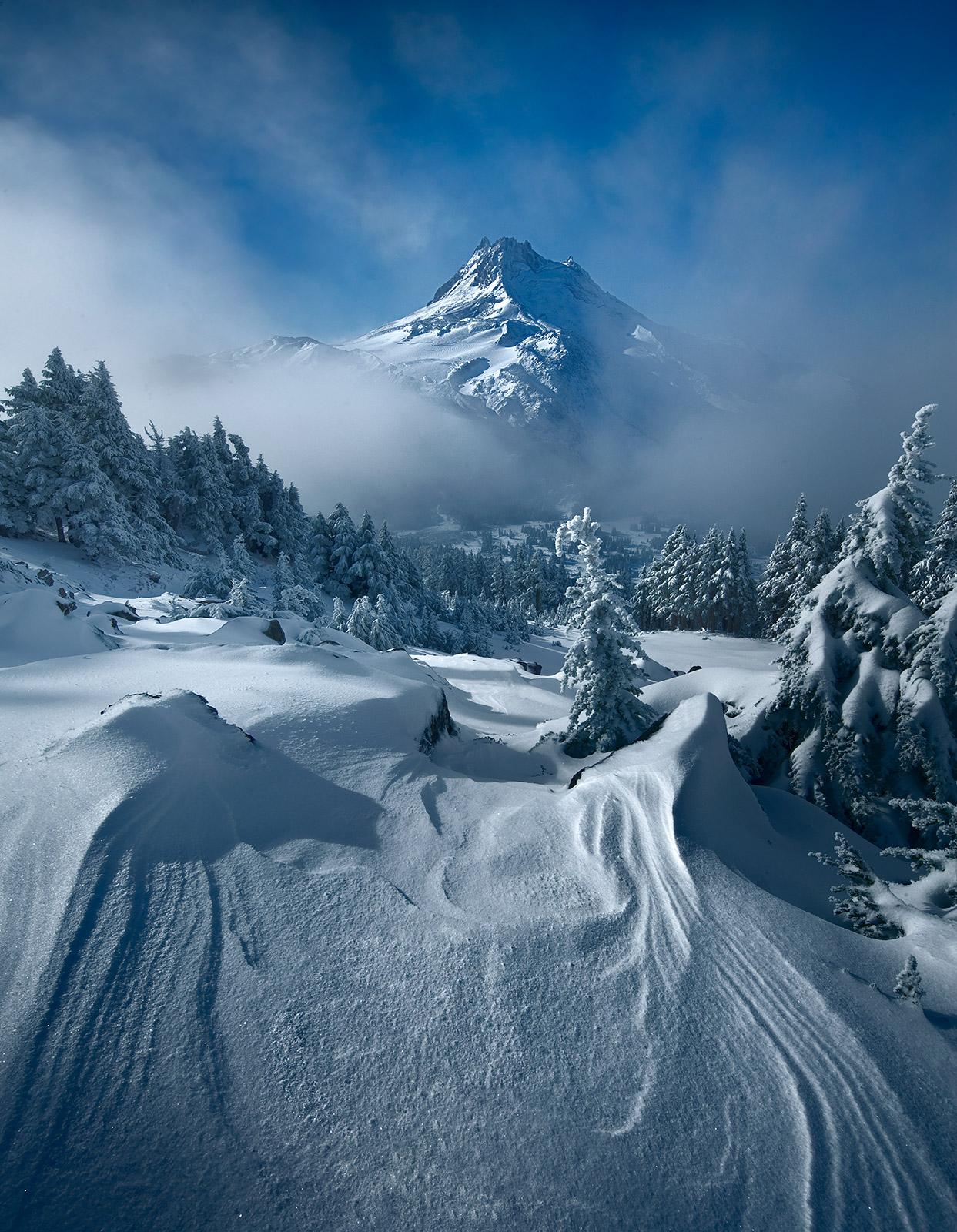 mount jefferson, clouds, morning, snowfall, alpine, photo