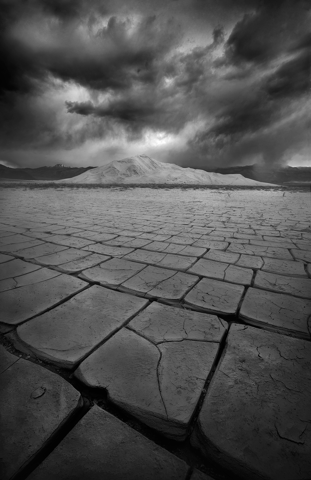 cracks, playa, death valley, dunes, dramatic, photo