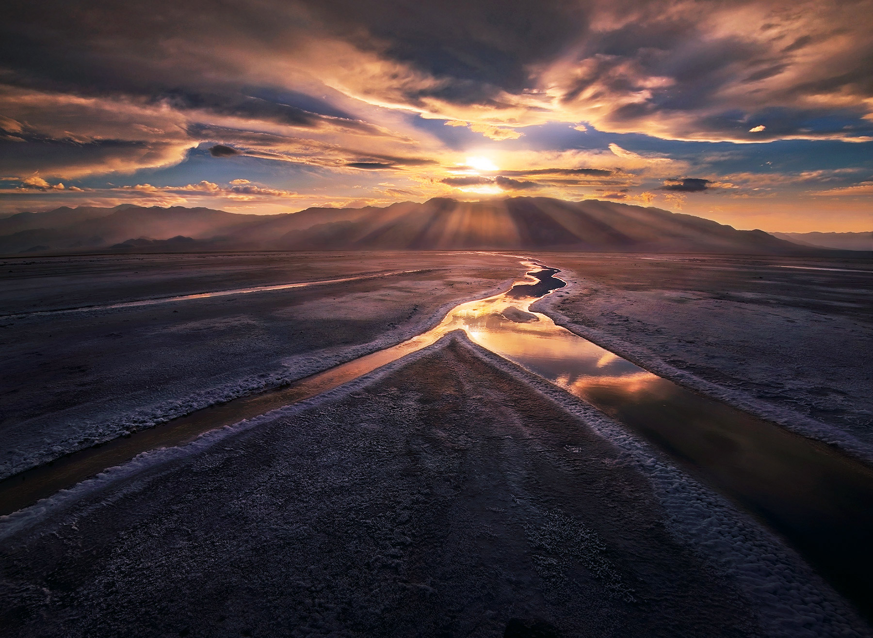 Death Valley, salt flats, stream, reflection, springs, beams, god beams, rays, sunset, photo