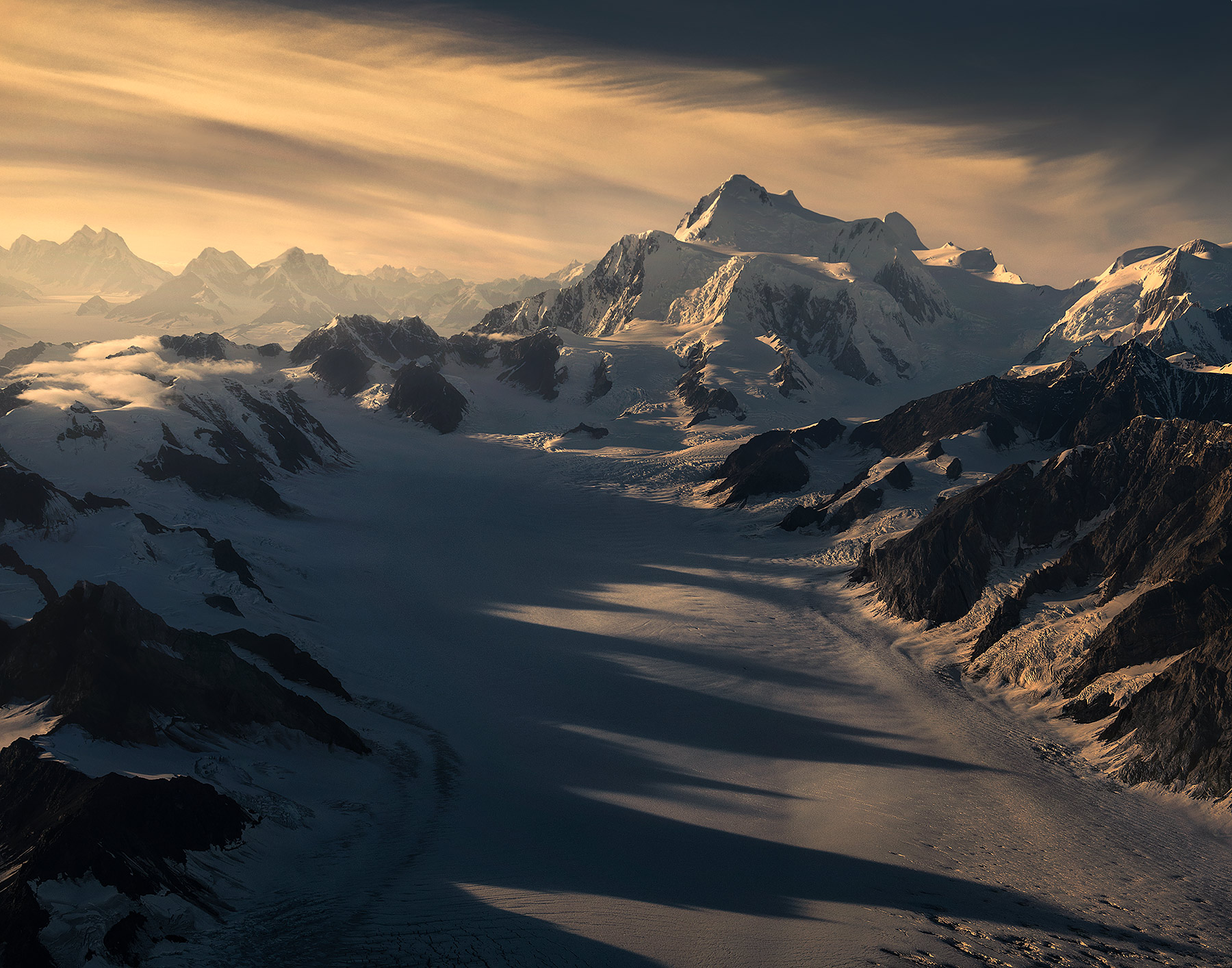 Wrangell, st Elias, glacier, sunset, shadows, peaks, mountains, Alaska, southeast, national park, kluane, Yukon, photo