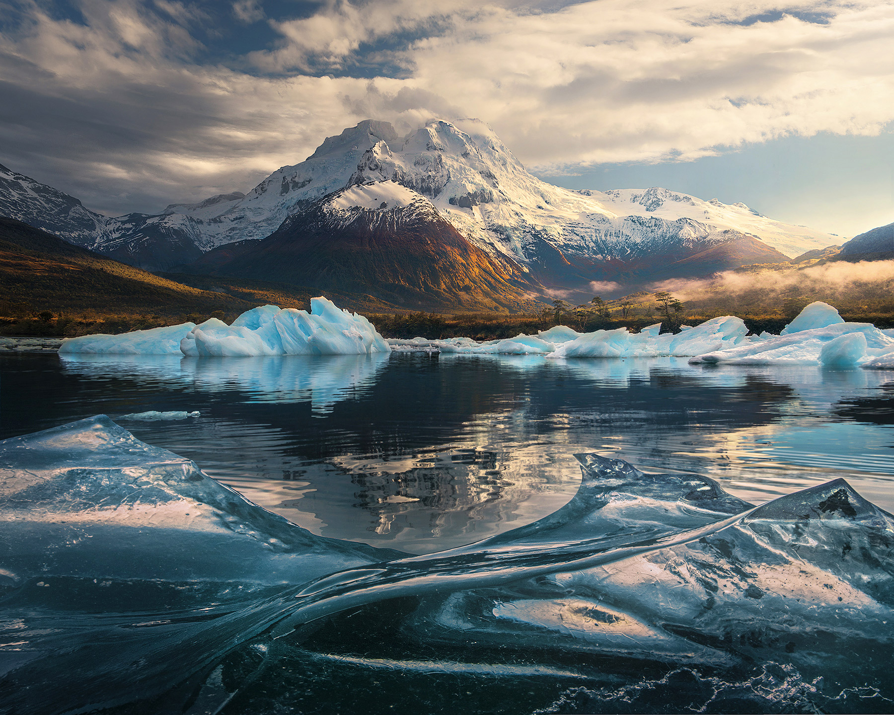 icebergs, fiords, autumn, Chile, Patagonia, photo