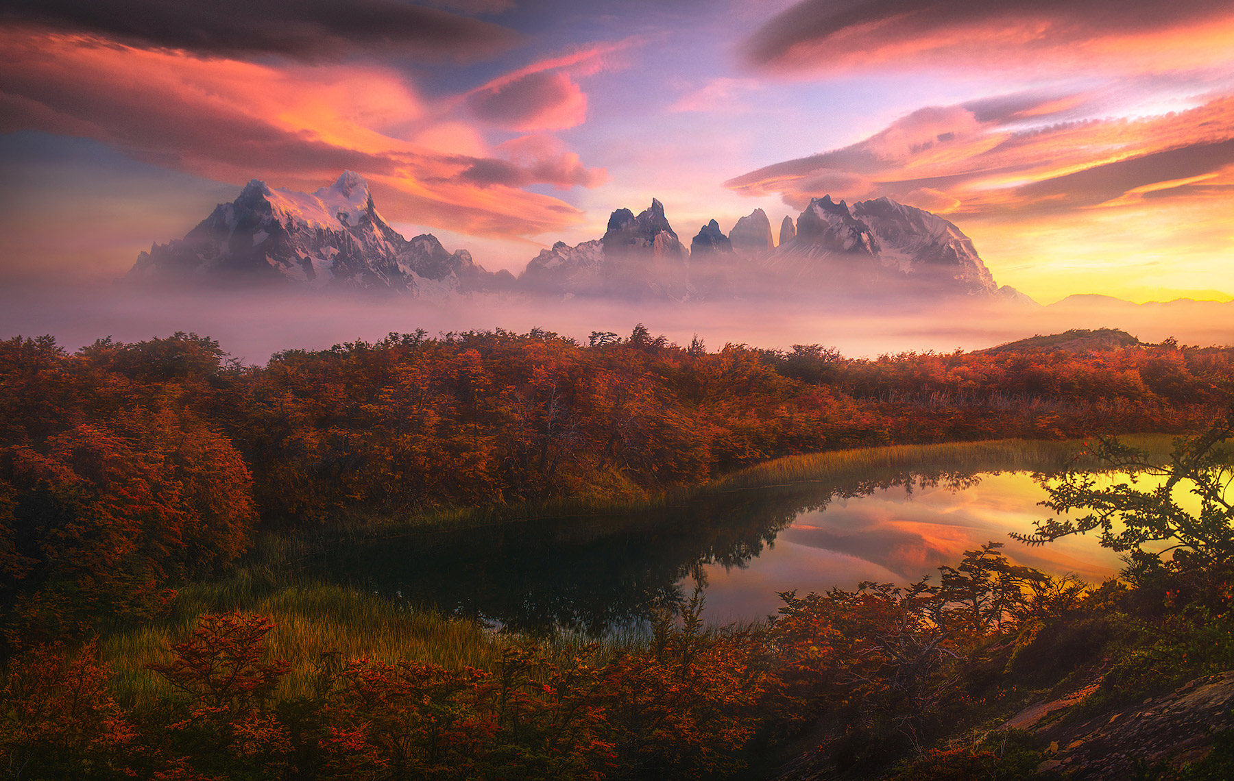 Torres Del Paine, reflection, sunrise, Chile, photo
