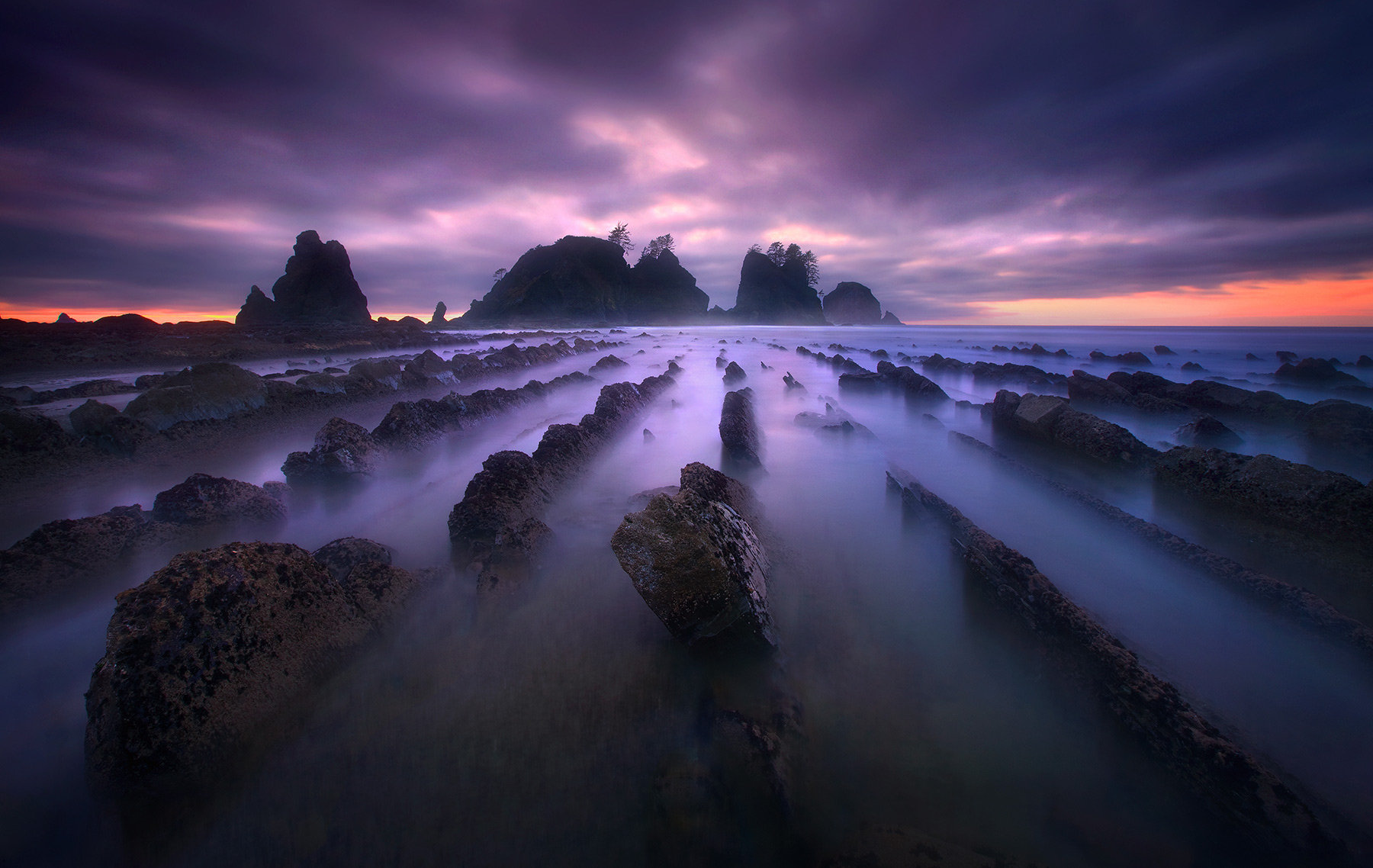 long exposure, twilight, surreal, colors, beauty, olympic, wilderness, coast, washington, photo